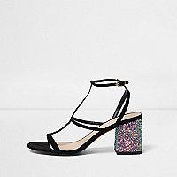 Black caged glitter block heel sandals