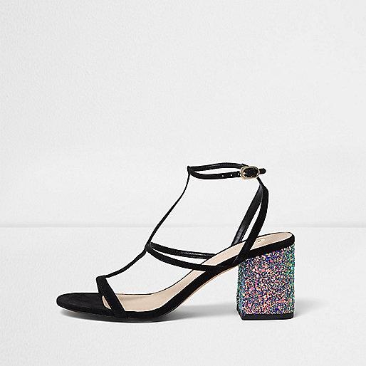 Zwarte sandalen met glitter en blokhak