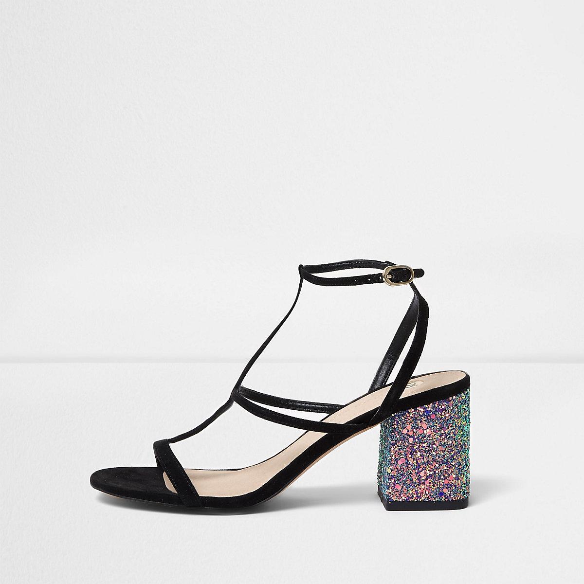 c3f442e288743 Sandales effet cage noires pailletées à talons carrés - Chaussures ...