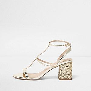 Gold caged glitter block heel sandals