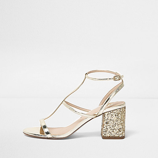 Gold caged glitter block heel sandals