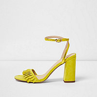 Yellow frill strap block heel sandals