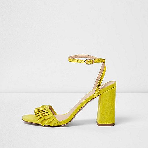 Yellow frill strap block heel sandals