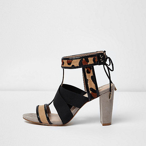 Leopard print cross over heel sandals