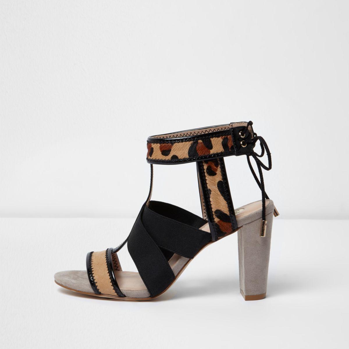 Leopard print cross over heel sandals