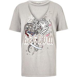 Grey print choker neck rock T-shirt