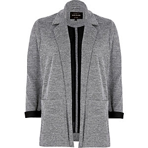 Light grey contrast cuff jersey jacket