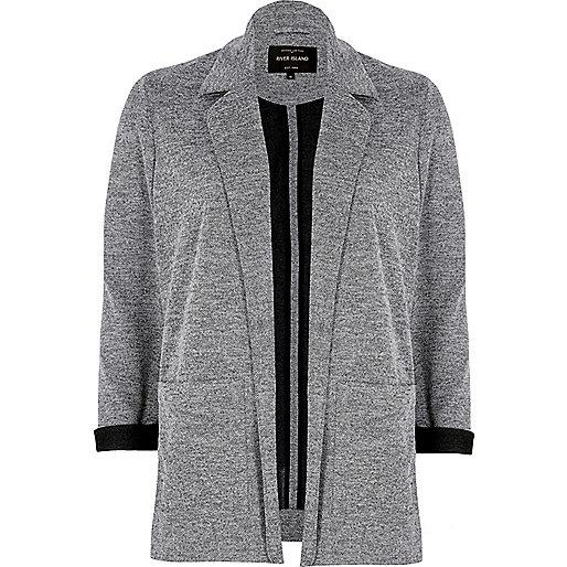 Light grey contrast cuff jersey jacket