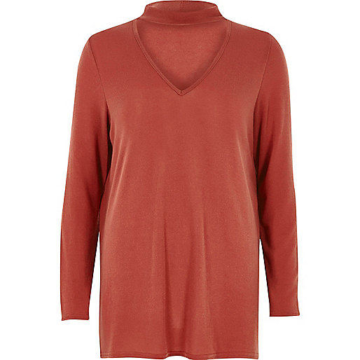 Orange knit choker top