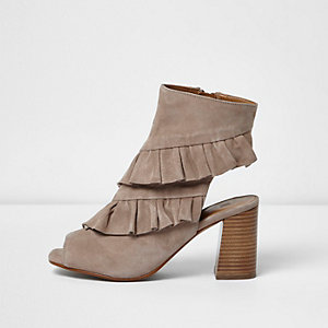 Beige suede frill peeptoe boots