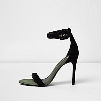 Black barely there buckle strap sandals