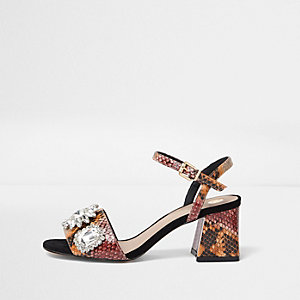 Orange snake rhinestone block heel sandals