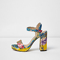 Blue floral block heel platform sandals