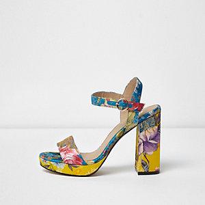 Sandales motif fleuri bleues à plateforme et talon carré