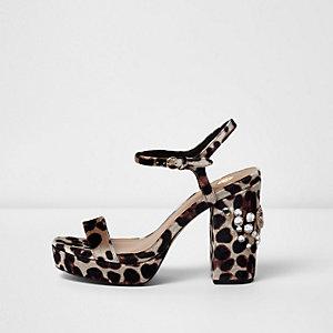 Leopard print diamante platform sandals