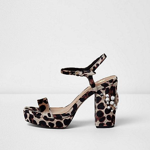 Leopard print rhinestone platform sandals
