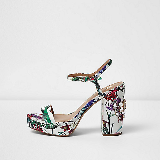 White floral print diamante platform sandals