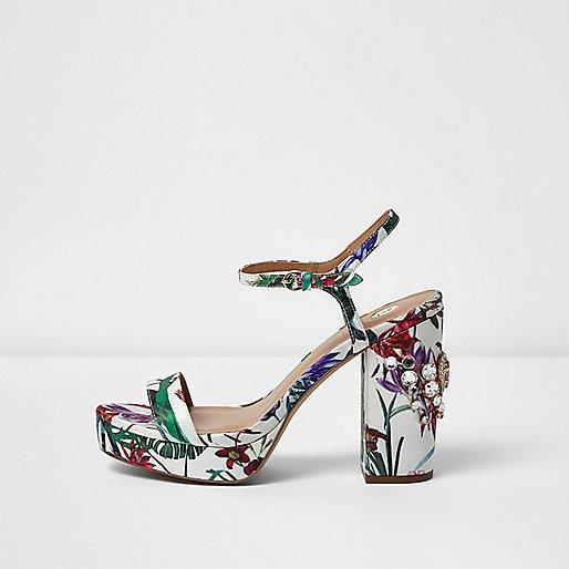 White floral print rhinestone platform sandals