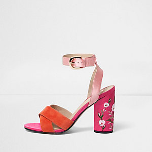 Pink multicoloured textured block sandals