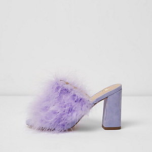 Purple fluffy feather block heel mules