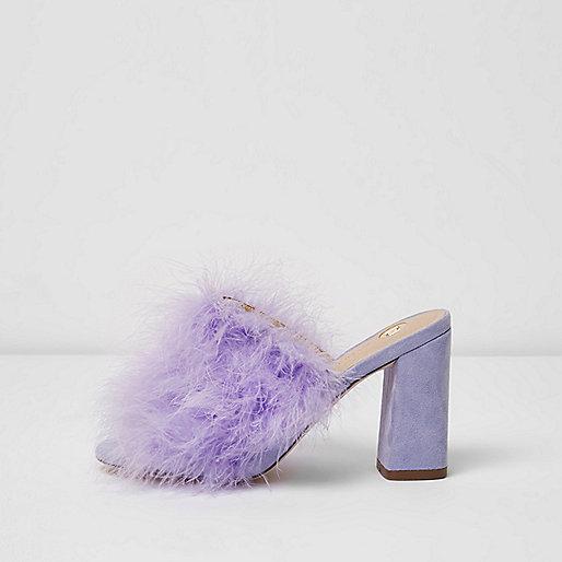 Purple fluffy feather block heel mules