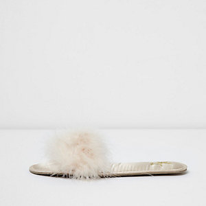 Cream fluffy slider slippers
