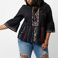 Plus black embroidered bell sleeve smock top