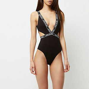 Black sporty branded cut out bodysuit