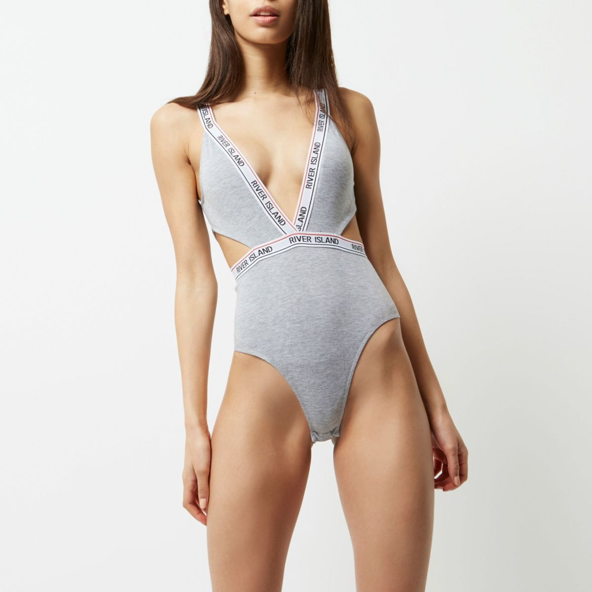Grey marl sporty branded cut out bodysuit