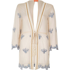 Kaftan de plage rose clair transparent brodé