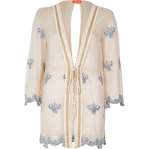 Light pink sheer embroidered beach kaftan