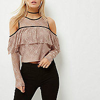 Petite nude cold shoulder lace top