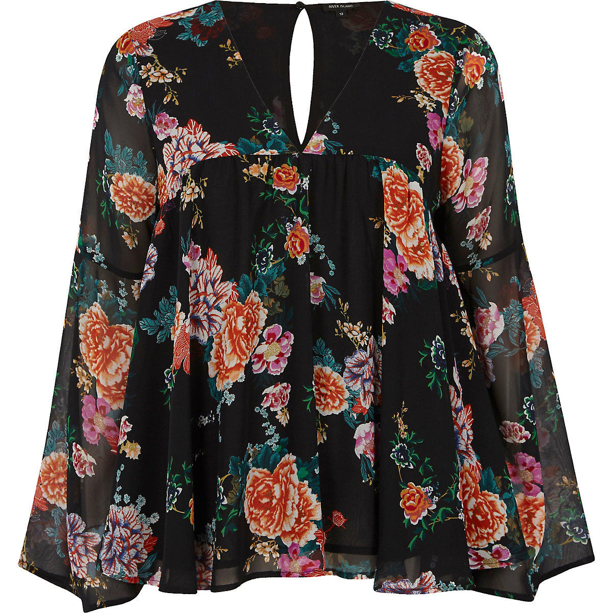 Black floral print smock blouse
