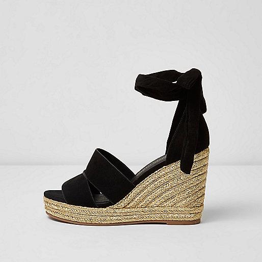 Black ankle tie espadrille wedges