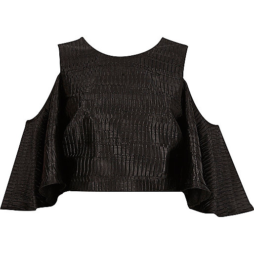 Black textured cold shoulder top