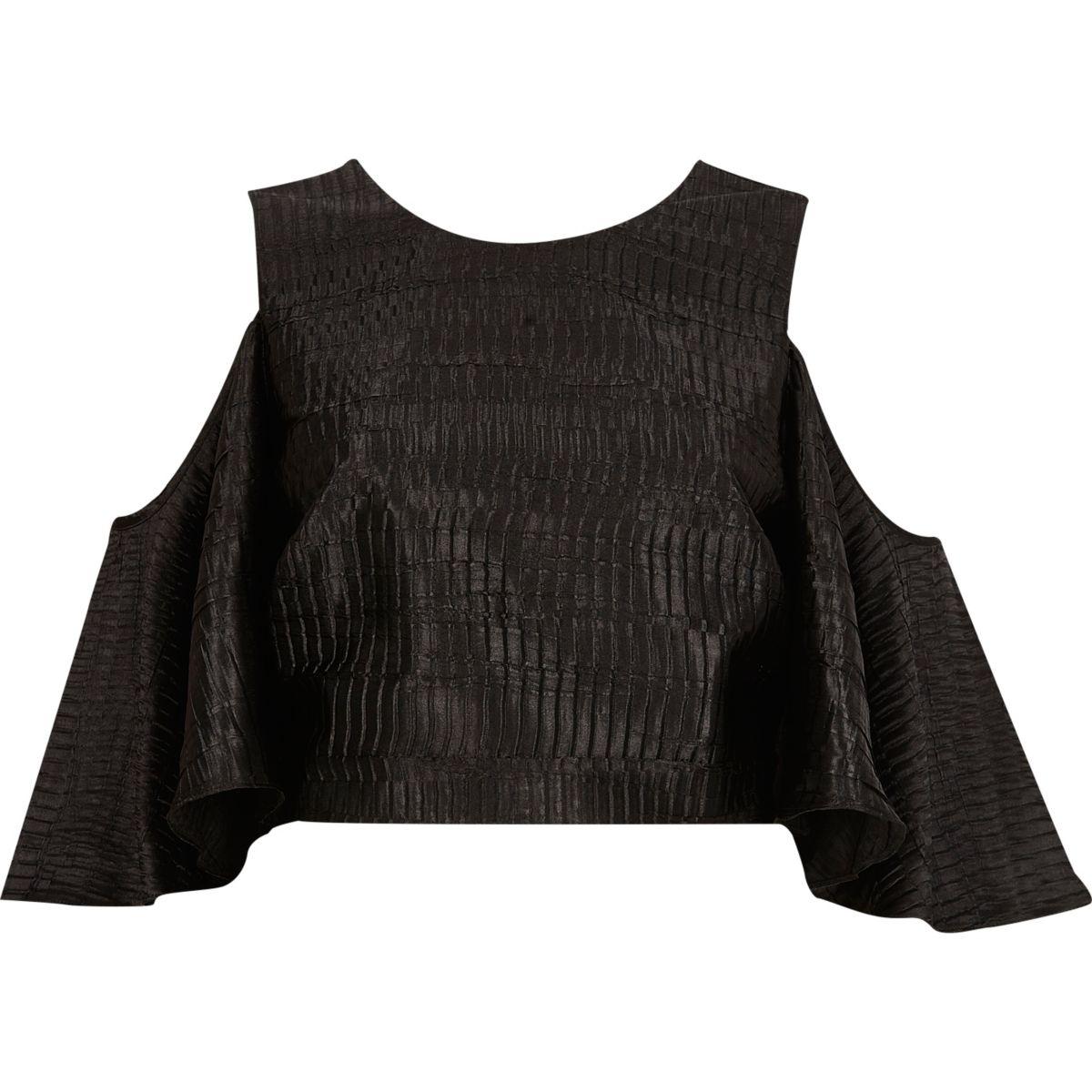 Top noir texturé à épaules dénudées