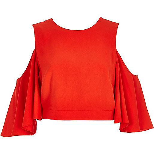 Red cold shoulder bell sleeve top