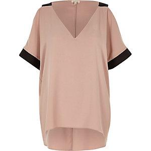 Pink cold shoulder V-neck top