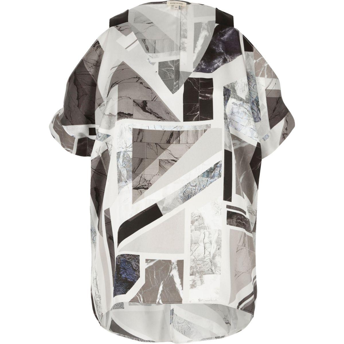 Grey print satin cold shoulder V-neck top