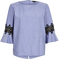 Blue stripe crochet trumpet sleeve top