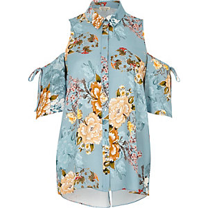 Blue floral print cold shoulder shirt