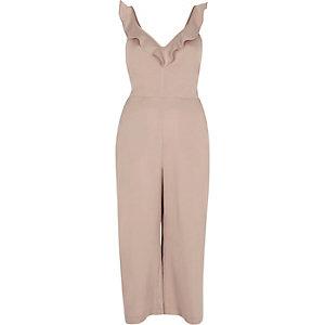 Pink tie back culotte jumpsuit