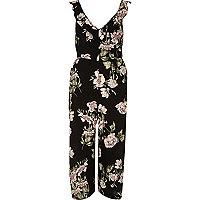 Combinaison jupe-culotte imprimé fleuri noire avec nœud au dos