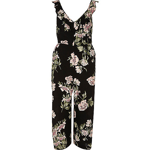 Black floral back tie culotte jumpsuit