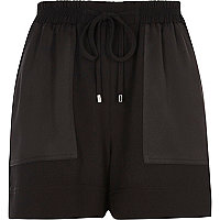 Black woven panel pocket shorts