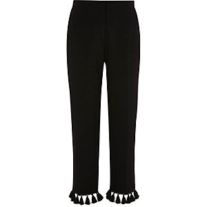 Black tapered tassel cropped pants