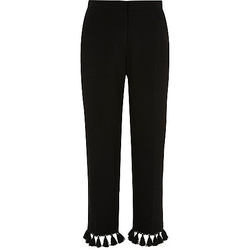 Black tapered tassel cropped trousers