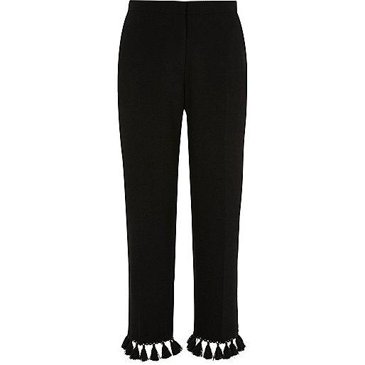 Pantalon court noir fuselé à franges