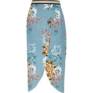 Blue floral print wrap midi skirt