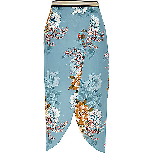 Blue floral print wrap midi skirt